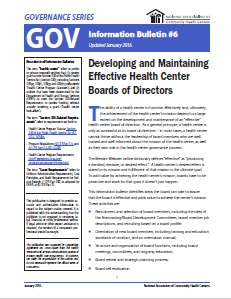 Developing and Maintaining Effective Health Center Boards of Directors: GOV Information Bulletin