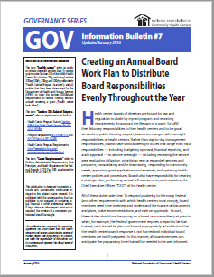 Creating an Annual Board Work Plan: GOV Information Bulletin