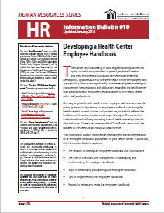 HR Information Bulletin: Developing a Health Center Handbook