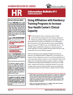 HR Information Bulletin: Using Affiliations with Residency Training Programs