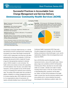 Successful Practices in Accountable Care: Change Management and Service Delivery
