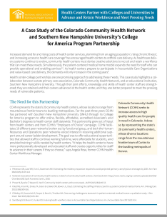 A Case Study of the Colorado Community Health Network  and Southern New Hampshire University's College  for America Program Partnership