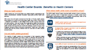Health Center Boards: Benefits to Health Centers