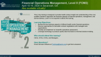 Welcome and Introduction to the Financial Operations Management, Levell Course