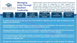Managing Crisis through Resilient Leadership COVID-19 Resource Packet / Manejando una crisis a través del liderazgo fuerte y adaptable
