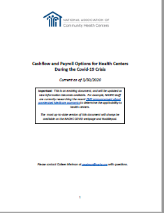 Cashflow Options for Health Centers with more than 500 employees During the Covid‐19 Crisis