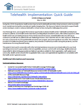 Telehealth Implementation Quick Guide – COVID-19 Resource Packet/ Guía rápida para la implementación de telesalud: Paquete de recursos sobre la COVID-19