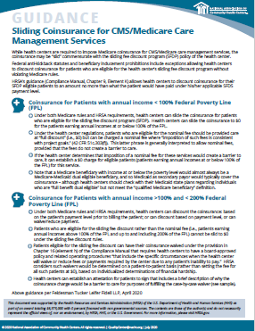 GUIDANCE Sliding Coinsurance for CMS/Medicare Care Management Services