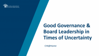 Good Governance and Board Leadership in Times of Uncertainty