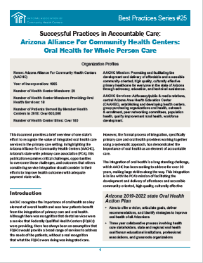 Successful Practices in Accountable Care: Arizona Alliance For Community Health Centers: Oral Health for Whole Person Care