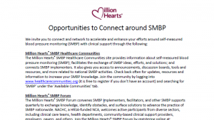 Million Hearts SMBP Forum and Healthcare Communities Fact Sheet