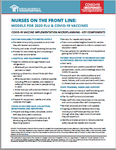Nurses on the Front Line: Models for 2020 Flu and COVID-19 Vaccines