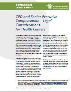 CEO and Senior Executive Compensation – Legal Considerations for Health Centers (Governance Legal Brief 3)