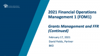 Grants Management and FFR (cont.)