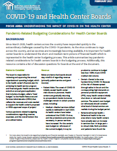 Pandemic-Related Budgeting Considerations for Health Center Boards /  Consideraciones presupuestarias relacionadas con la pandemia para las juntas de los centros de salud