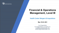 Financial and Data Analysis in the New World of Health Care Reform (cont.)