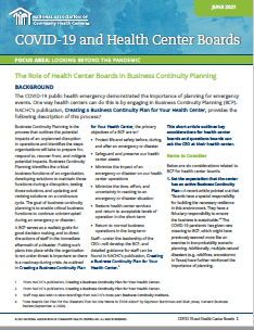 The Role of Health Center Boards in Business Continuity Planning