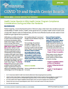 Health Center Boards & HRSA Health Center Program Compliance: Considerations During and After the Pandemic