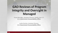 GAO Reviews of Program Integrity and Oversight in Managed Care