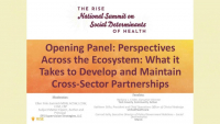 Opening Panel: Perspectives Across the Ecosystem: What it Takes to Develop and Maintain Cross-Sector Partnerships