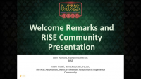 Welcome Remarks and RISE Community Presentation