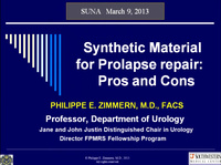 Synthetic Material for Incontinence and Prolapse Repair: Pros and Cons