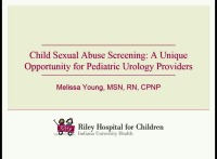Child Sexual Abuse Screening: A Unique Opportunity for Pediatric Urology Providers