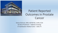 Patient Reported Outcomes in Prostate Cancer Treatment