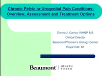 Chronic Pelvic or Urogenital Pain Conditions: Overview, Assessment & Treatment Options