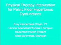 Physical Therapy Intervention for Pelvic Floor Hypertonus Dysfunctions