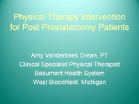 Physical Therapy Intervention for the Post-Prostatectomy Patient