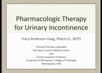 Pharmacologic Therapy for Urinary Incontinence